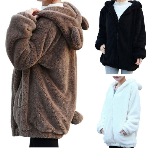 Womens Thicken Fleece Fur Warm Winter Coat Hooded Parka Overcoat Jacket Outwear*