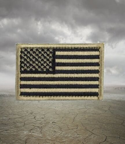 Coyote Tan Embroidered US American Flag Morale Patch with Hook Back  DevgruArmy - 48824