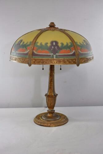 ARTS & CRAFTS STYLE REVERSE PAINTED 6 PANEL LAMP WITH IRIS