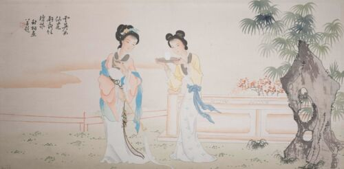 """Beautiful Vintage Chinese Painting on Silk, """"Woman with Wine"""" Signed & Signed!"""