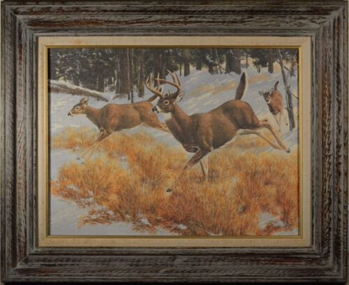 Painting of Deer Running Through Snow Laden Woods, Print on Canvas, BEAUTIFUL!!