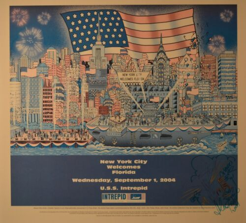 Charles Fazzino Signed Poster with Special Drawing of New York City & Florida!
