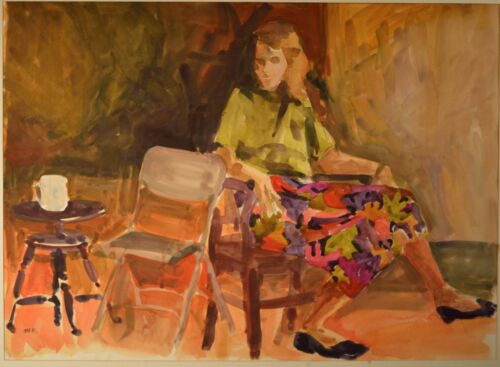Lisa Buck Goldstein Original Watercolor of Girl with Coffee. Impressionist Style