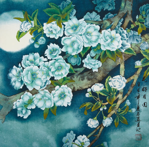 """18"""" SILK BROCADE FLOWER CHINESE BRUSH PAINTING WATERCOLOR:SCENT OF MIDNIGHT -"""