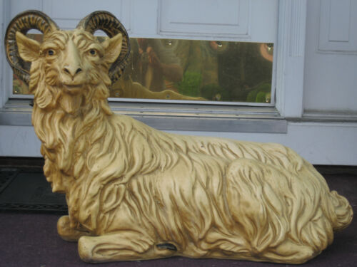 "GIANT LARGE CERAMIC Ram Figurine Mountain Goat Relaxing Statue ! 30"" LONG"