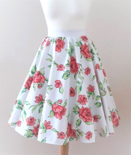 1950s Circle Skirt White Roses All Sizes - Rockabilly Vintage Red Floral Dress