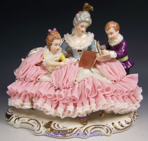 LOVELY DRESDEN HAND PAINTED FULL LACE LADY READING BOOK WITH CHILDREN FIGURINE