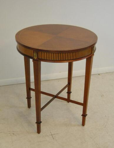 Round Side Table in Mahogany with Satinwood Inlay by Baker Furniture