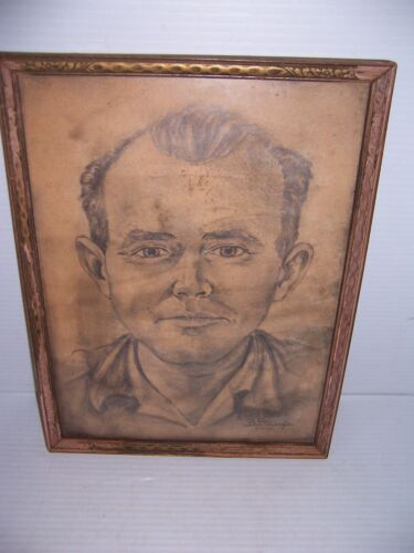 Vintage 1952 Framed Art Drawing of a Man Signed B Staup. Very Well Drawn