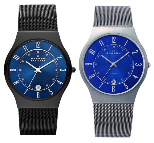 Skagen Men's Quartz 12/24 Hours Titanium Case Stainless Steel Mesh Watch