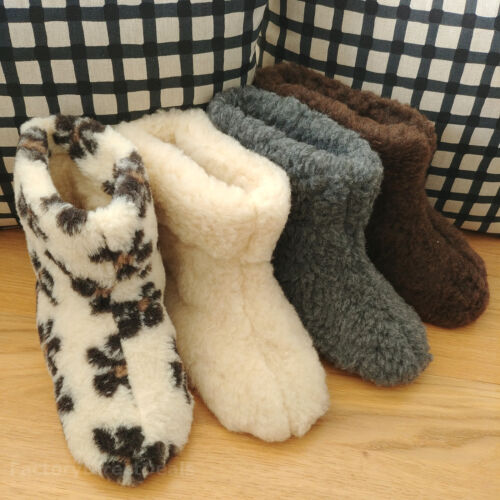 Mens Ladies 100% Sheep Wool Boot Slippers Real Leather Suede Sole Size 3-12 BOX