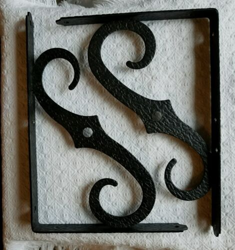 2 Vtg Decorative Black Hammered Wrought Iron Simple Scroll Shelf Brackets 9 x 11