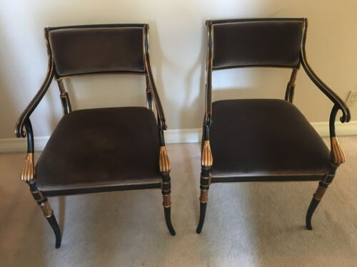 2 Karges Regency Arm Chairs with Gold Gilt