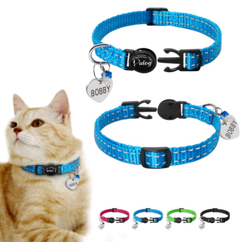 Cute Cat Breakaway Collars Personalised Reflective Safety Cat Collar and Tag Set
