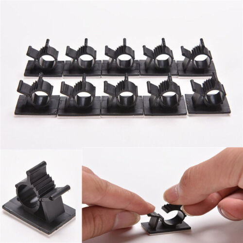 Adhesive Cord Management 10x Cable Clips Black Wire Holder Organizer Clamp U87