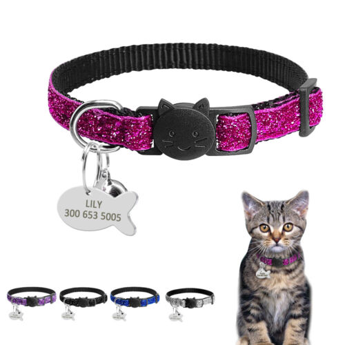 Personalized Sequins Break Away Cat Collar With Bell for Cat Kitten Adjustable