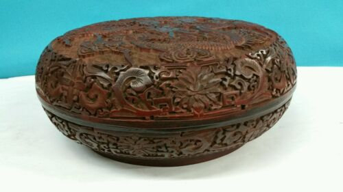 ANTIQUE CHINESE CINNABAR LACQUER ROUND BOWL WITH LID DIAMETER 12 inches