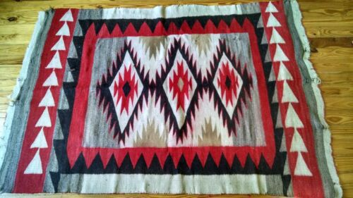 Early RARE c1920's NAVAJO RUG Teec Nos Pos Tapestry wallhanging blanket  70x48
