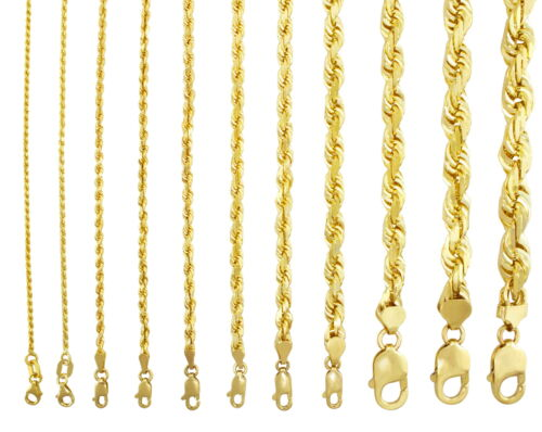 "10K Yellow Gold Genuine 7""-32"" Rope Chain Necklace Bracelet Men Women 2mm to 7mm"