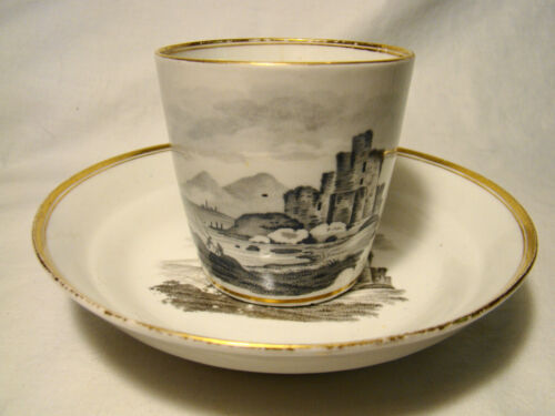 Early Staffordshire Transfer Soft Paste Porcelain Bat Print Cup & Saucer 1800-12