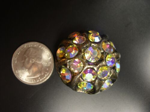 Large gaudy antique rhinestone and pewter? button 1 1/4""