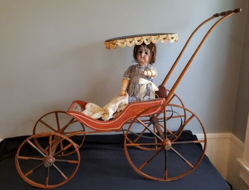 Antique 19th C. Victorian DOLL CARRIAGE Buggy Stenciled Wood Wheels Orig. Paint