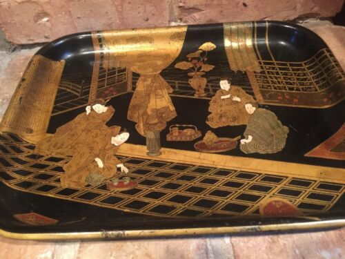 JAPANESE LACQUER AND GILT TRAY TEA SERVICE SCENE 19TH CENTURY EXQUISITE