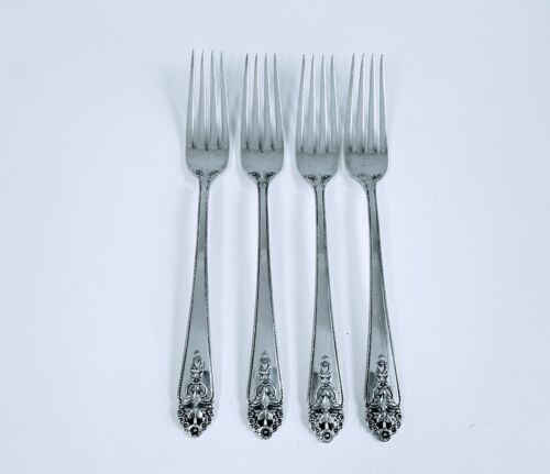 """4 DINNER FORKS 7 5/8"""" Sterling International QUEEN'S LACE LARGE SIZE"""