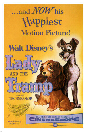 Walt Disney's Lady and the tramp MOVIE POSTER 1955 24X36 VINTAGE CARTOON - RY2