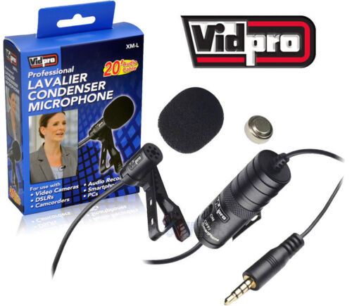 Vidpro XM-L Lavalier Condenser Microphone for DSLRs, Camcorders & Video Cameras