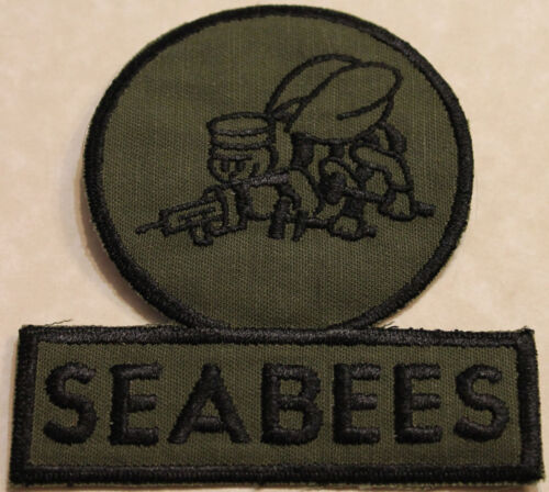 Construction Battalion Subdued Seabee Navy 1980s Green Fatigues Patch / CBOriginal Period Items - 13983