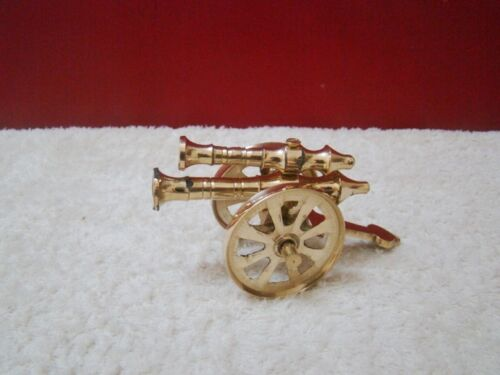 Brass Double Barrel Cannon Miniature Antique Vintage Military Functional Wheels