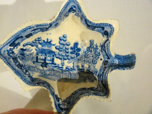 Staffordshire Serrated Edge Pearlware Blue Chinoiserie Pickle Dish c1810-1820's