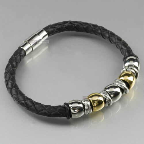 Stainless Steel Genuine Black Leather Chain Bracelet Silver gold bead