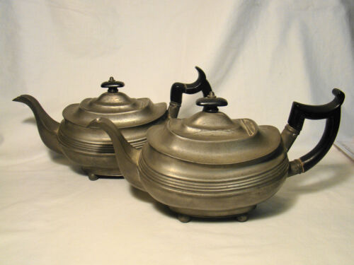 Pair of Antique Pewter Boat Shape Teapots w/ Ball Feet c1810-1830