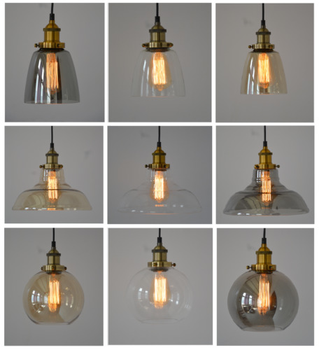 NEW MODERN VINTAGE INDUSTRIAL RETRO LOFT GLASS CEILING LAMP SHADE PENDANT LIGHT <br/> SALE - Many Colours & Designs to Choose!
