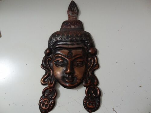 VINTAGE MONGOLIAN BUDDHIST HAND MADE COPPER  WALL DECOR MASK
