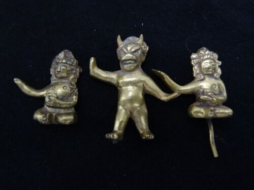 ANTIQUE MONGOLIAN BUDDHIST GILDED BRASS SMALL FIGURINES