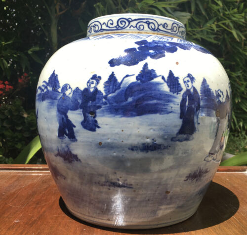 ANTIQUE CHINESE PORCELAIN JAR BLUE & WHITE 17/18th C. KANGXI JINGDEZHEN KILNS