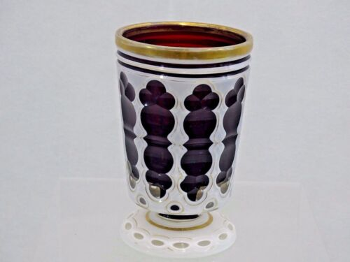 SUPERB ANTIQUE BOHEMIAN HAND CUT GLASS GOBLET CUP DARK RED OVERLAY 19 cent Moser
