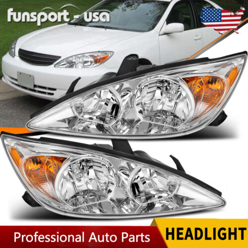 for 2002-2004 Toyota Camry Chrome Headlights Headlamp Assembly Replacement 02-04