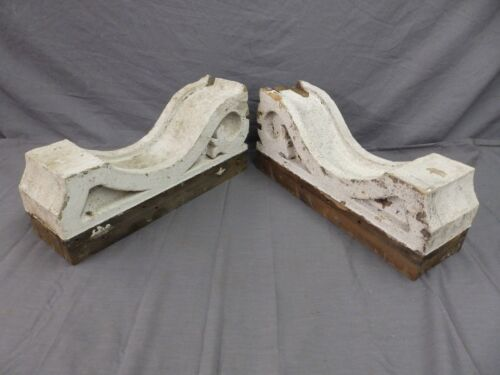 Large Pair Antique Corbels Roof Brackets Victorian Shabby Shelf Vtg Chic 505-17P