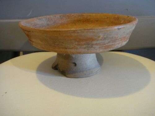 "PRE COLUMBIAN AUTHENTIC 1,000+ YEAR OLD MAYAN PEDESTAL BOWL  POTTERY  7.5""X3.5"""