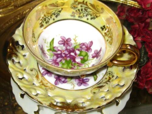 ROYAL SEALY 3 Footed YELLOW IRIDESCENT & VIOLETS TEA Cup & Saucer PIERCED