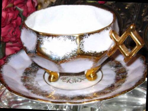 ROYAL HALSEY 3 FOOTED LAVENDER IRIDESCENT GOLD Tea Cup and Saucer