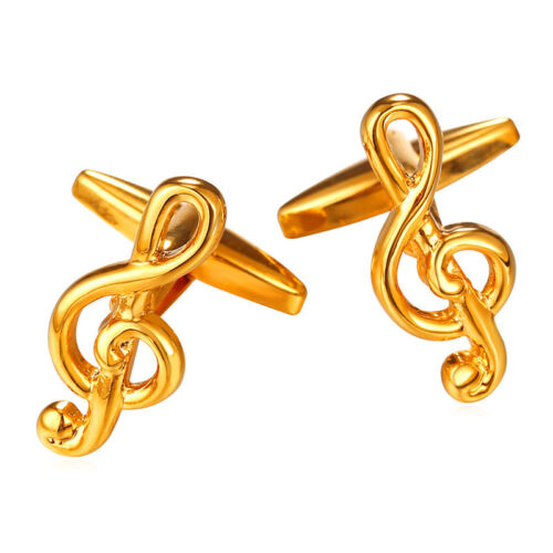 Fashion 18K Gold/Platinum Plated Musical Note Mens Shirt Cufflinks Jewelry Gifts