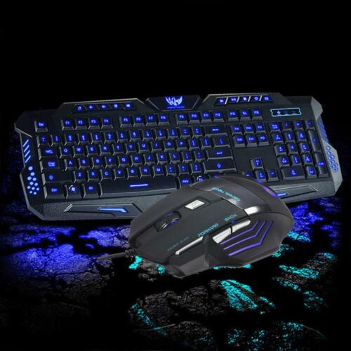 LED Backlit Gaming Keyboard WITH 3 Colorways + Alternating Light USB Wired Game