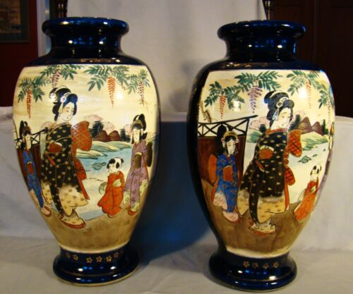 "Pair of Large Satsuma Figural Baluster Vases 19th c 15""h"