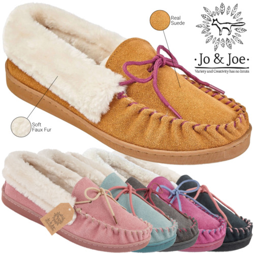 New Ladies Moccasin Slippers Real Leather Suede Fur Slip On Loafer House Shoe