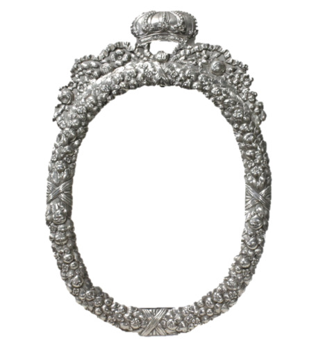Antique 800 Silver Picture Frame Floral Repousse Oval